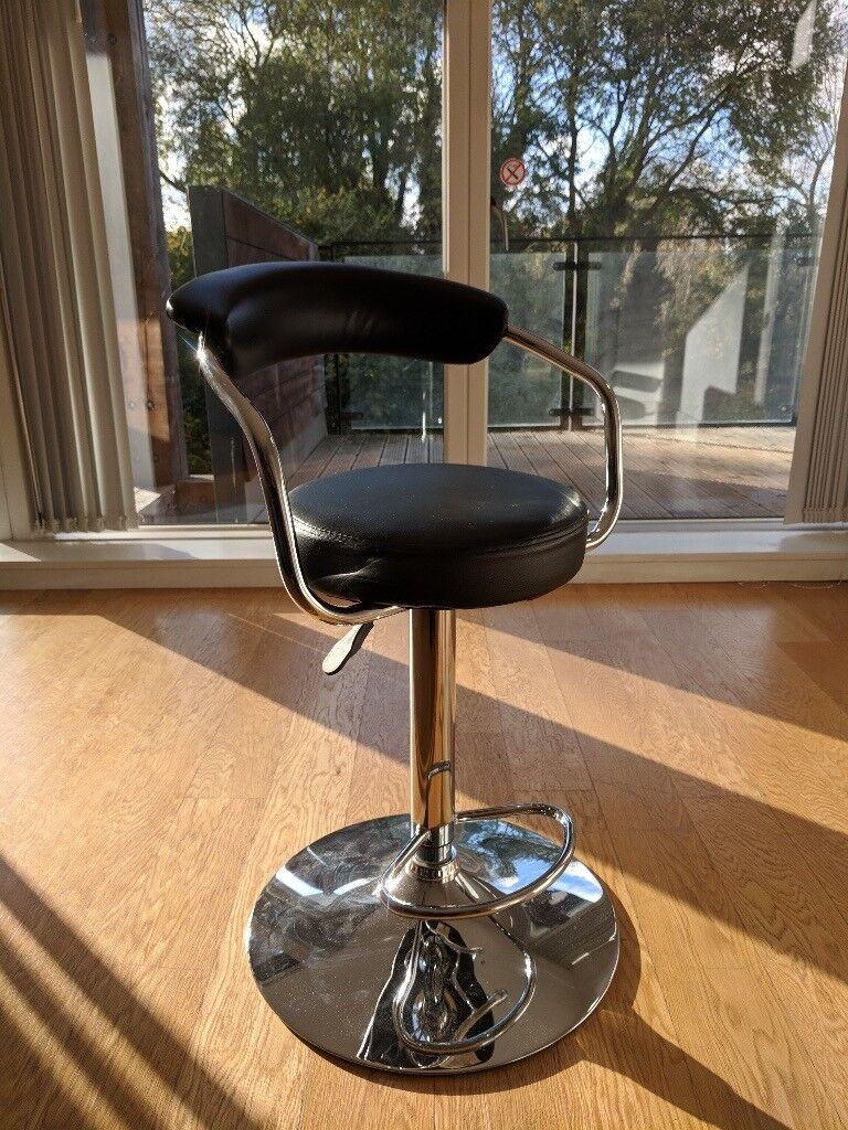 bar stools x2., black leather and metal, unused