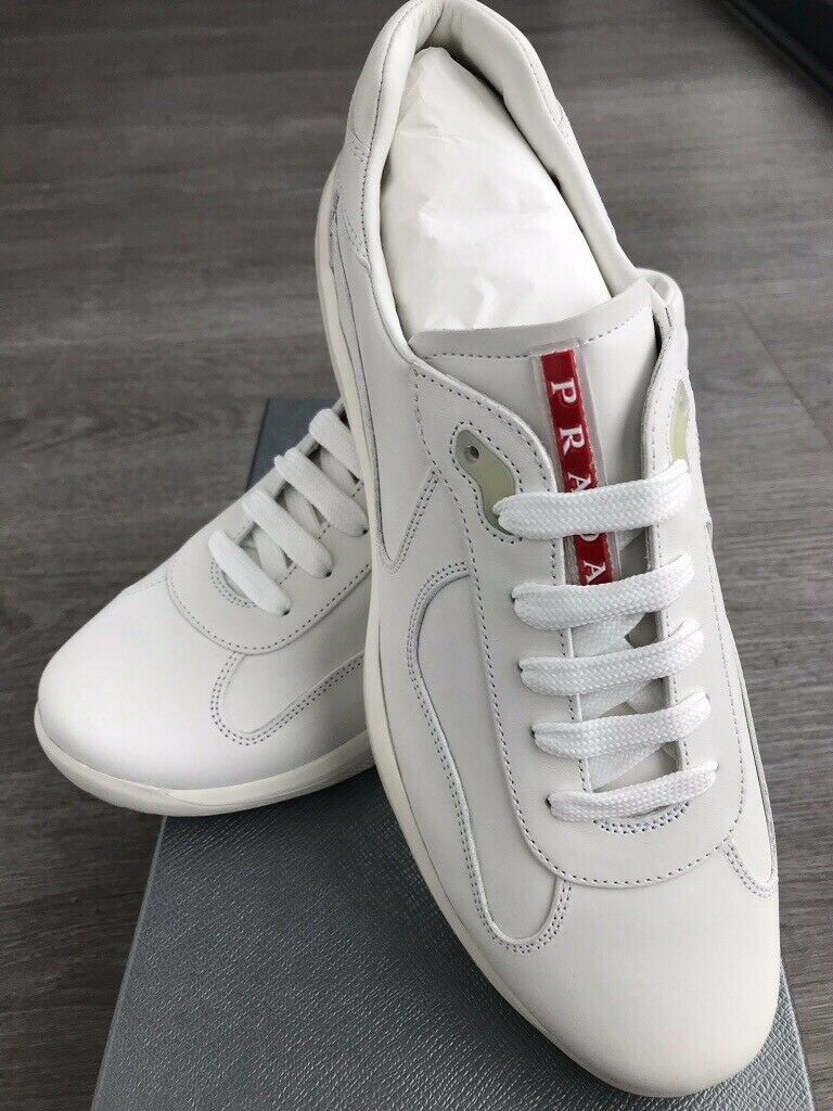 f58e5a398bba3 New Men's Rare Prada America's Cup All Leather White Trainer / Training  Shoes UK 10 RRP £499