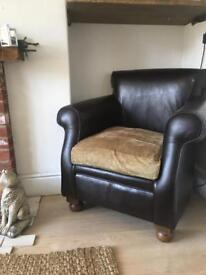 Quality brown leather tetrad club chair