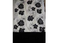 Pair of Long Black & White / Light cream floral curtains velvet style bottom! 224cm long 220cm wide