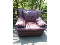 Burgundy red real leather armchair chair