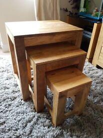 Mantis Light Natural Solid Mango Wood Nest of Tables - Oak Furnitureland