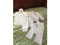 M&S girls 4 piece pink velvet outfit age 3-6 months