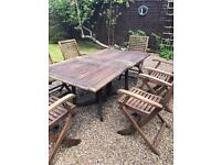 Solid wood 6 seater patio set