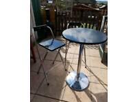 Tall Black gloss table and 2 chairs