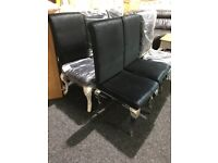 BRAND NEW-cheome frame black velour chairs
