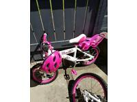 Girls white and pink bike