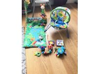 BABY BUNDLE Fisher-Price Discover and Grow Activity Bouncer and Rainforest 1-2-3 Musical Gym