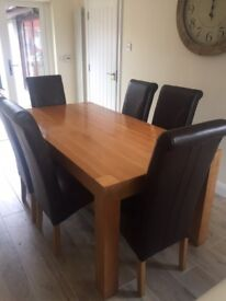 SOLID OAK TABLE AND 6 CHAIRS - ** 1 YEAR OLD **