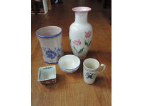 A selection of China vases and bowls
