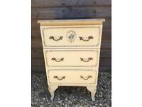 Vintage Louis Fourteenth style glamorous white & gilt bed side cabinet chest of drawers. c1950's