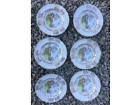 6 X VINTAGE HUNTING SCENE SIDE PLATES SPODE BONE CHINA ENLGLAND GILDED