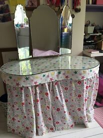 Vintage 50's kidney shaped dressing table with prestigious fabric.
