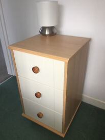 Bedsite cabinet and matching chest of drawers