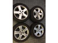 Set of four genuine Peugeot alloy wheels & tyres