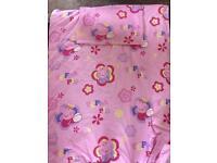 Peppa pig toddler duvet set, fleece blanket and curtains