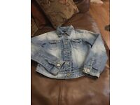 Girls Denim Jacket - Next Brand - age 8 years - blue - denim with front pockets