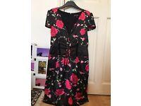 Rose dress, black with pink roses, beautiful fabric, size 10-12 figure hugging, Boohoo dress