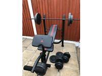 Solid Bench With Weights Set. •Can Deliver•