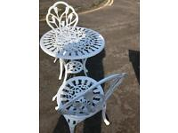 Metal garden table and two chairs