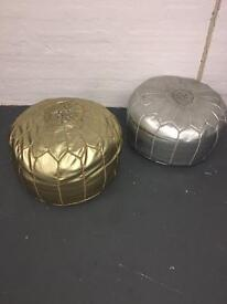 Pair of genuine leather Moroccan pouffes