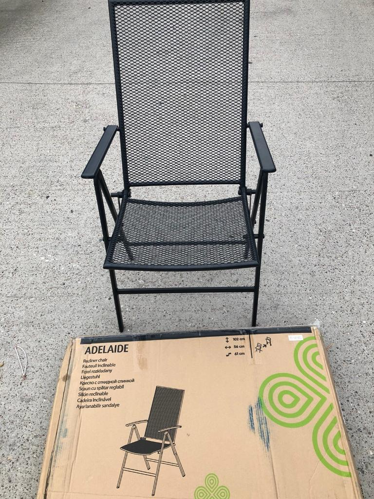 Adelaide metal recliner folding chairs x3