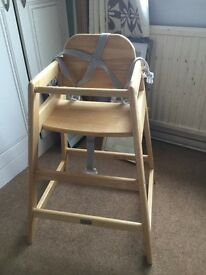 High chair wooden with fitted harness