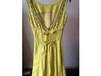 1950s yellow beaded evening dress, full length, size 10