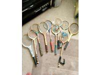 Job lot 10 assorted tennis, squash, badmington racquets, 5 with broken strings, 5 good