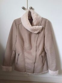 Faux sheepskin beige coloured jacket by Next size 10