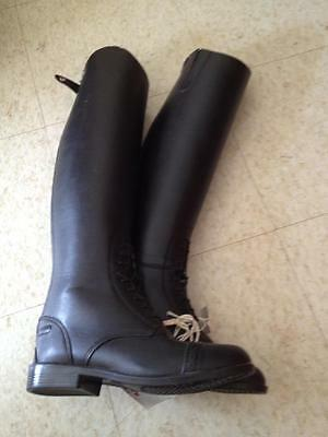 a6836921f6a5 Devon Aire Ladies Leather FIELD BOOTS  NEW  Black SIZE 6 1 2 R   BACK ZIP