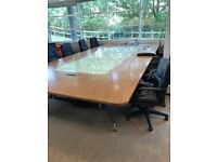 Large office Table with glass insert in the middle.