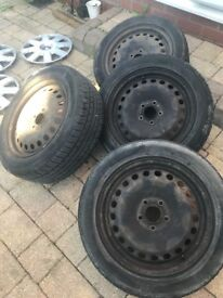 "Focus 16"" wheels and tyres 205/55/16 plenty of tread with trims"