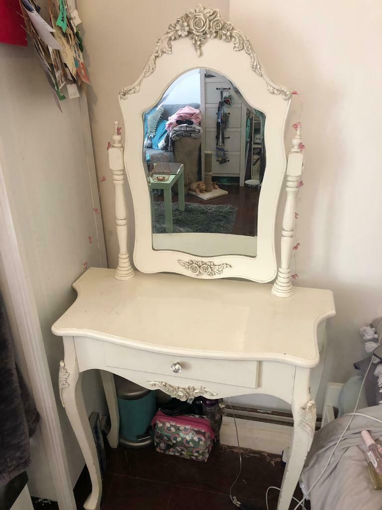 new arrival e52f5 29959 Shabby chic white dressing table with mirror and rose floral detail-  pretty- with draw | in Brighton, East Sussex | Gumtree
