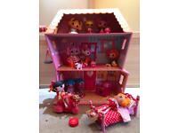 Huge Lalaloopsy House, Bed, Sofa, cooker, Remote control Scooter and 10 Dolls