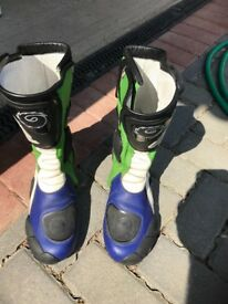 Motorbike boots - black with green, white and blue markings
