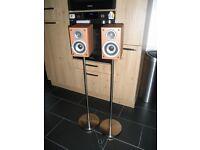 Audio speakers, JVC, 70 W, stainless steel pedestal.