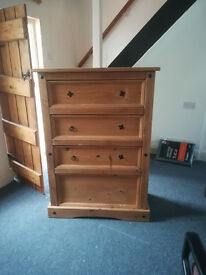 Large soild pine chest of drawers