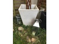 White outdoor pot plants
