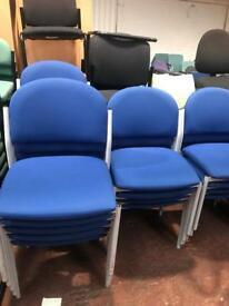 Blue Fabric Stackable Chairs