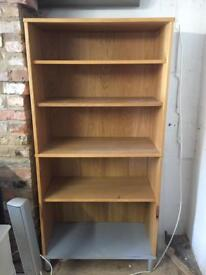 Two piece shelf unit/bookcase