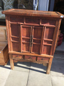 Large Oriental Chest - Free Local Delivery. Chest has a distressed painted finish