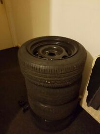 Banded steels 13s 4x100 8j wide . Deep dish .