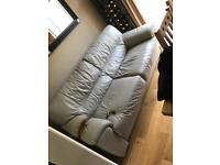 DFS 3 Seater Leather Grey Sofa with Burn Marks