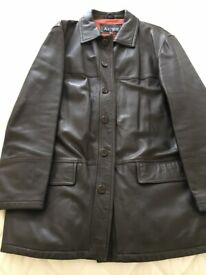 GENTS ARMANI JEANS SOFT DARK BROWN LEATHER JACKET