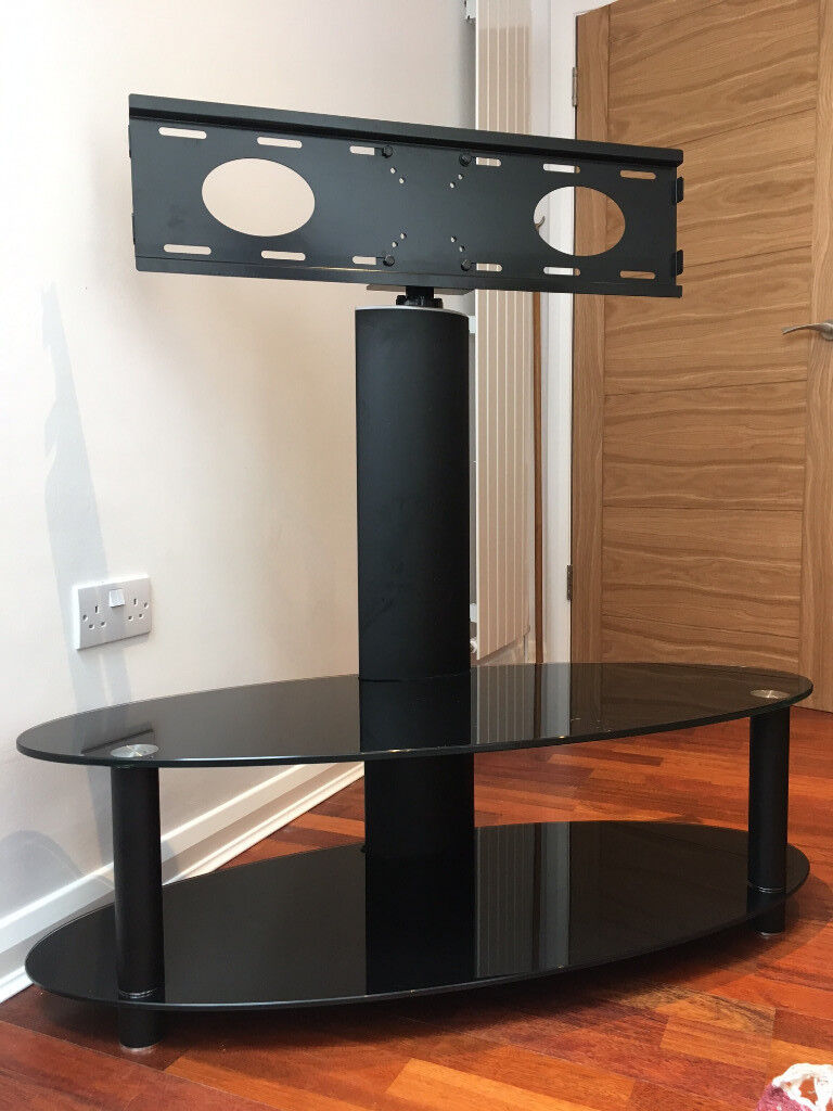 Tv Stand With Swivel Bracket Toughened Black Glass 2 Shelves In
