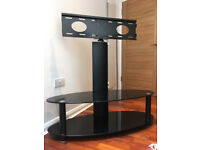 TV stand with Swivel bracket - toughened black glass, 2 shelves