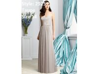 Dessy Bridesmaid 2925 Sequin and Tulle Dress in Taupe size 14