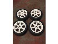 Rota Grid 16x7 ET40 4x114.3 Alloy Wheels White C/W Toyo Tyres Honda Integra DC2