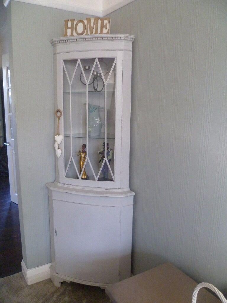 Vintage Corner Cabinet Shabby Chic Vintage Corner Display Cabinet In Winter Grey Chalk